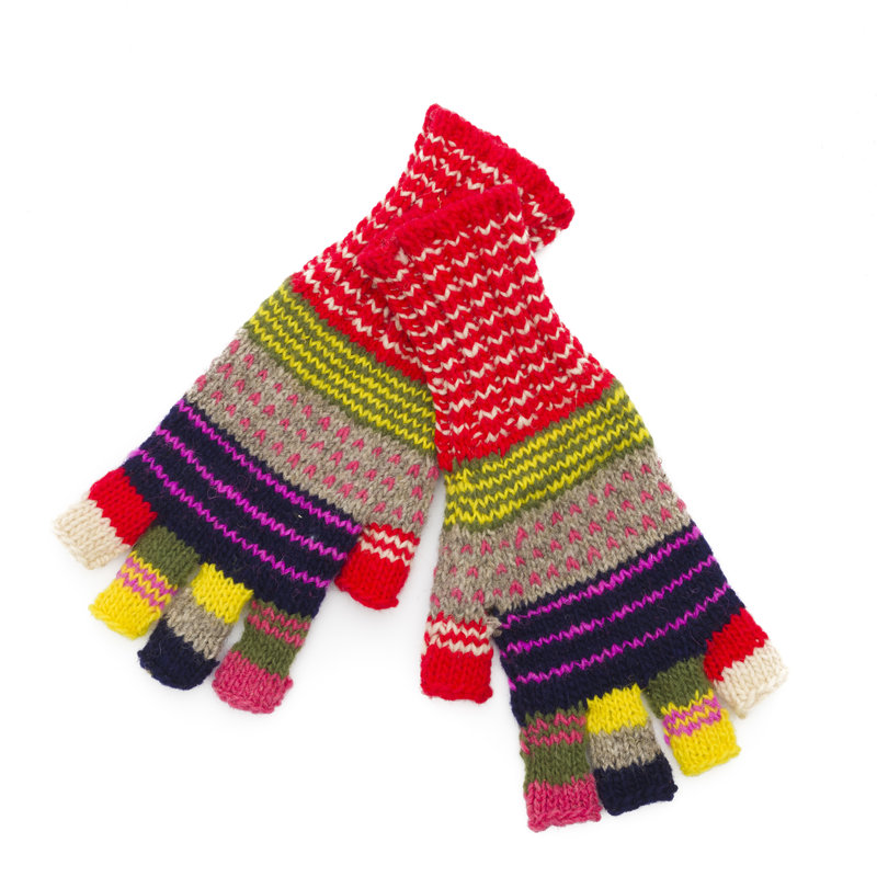 Fingerless gloves for adults, retro and colourful