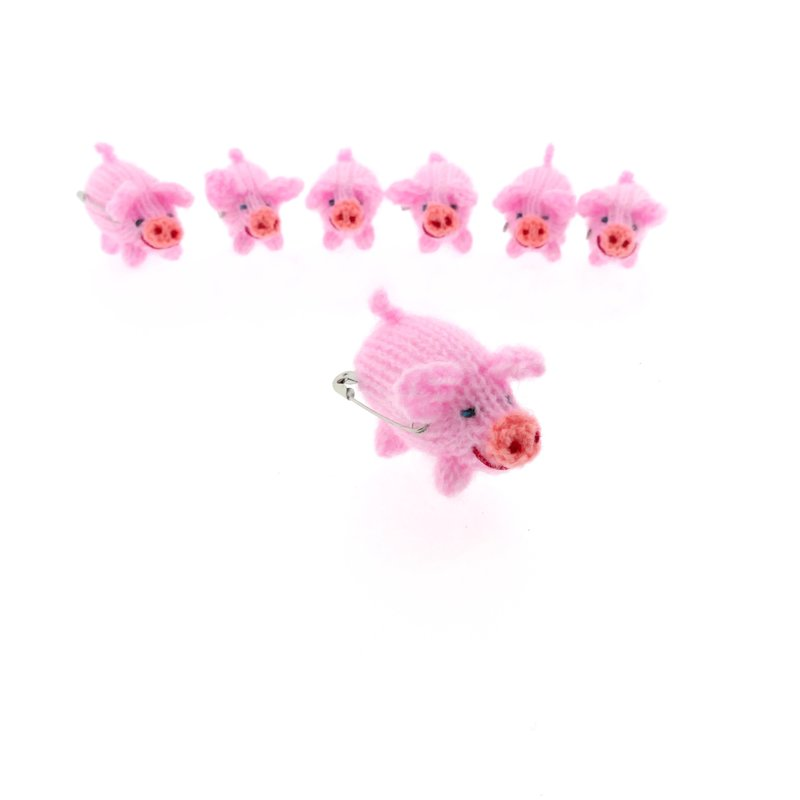 Brooch, knitted pig, rose