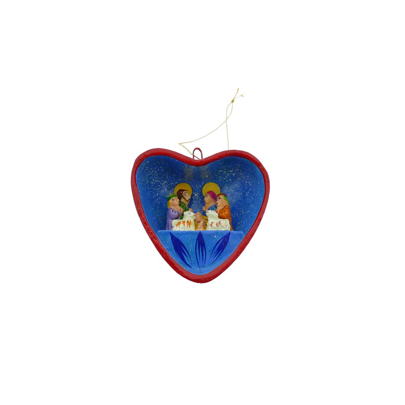 Nativity scene in heart, earthenware