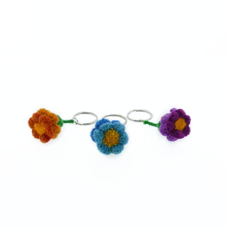 Woollen key hanger with cornflower