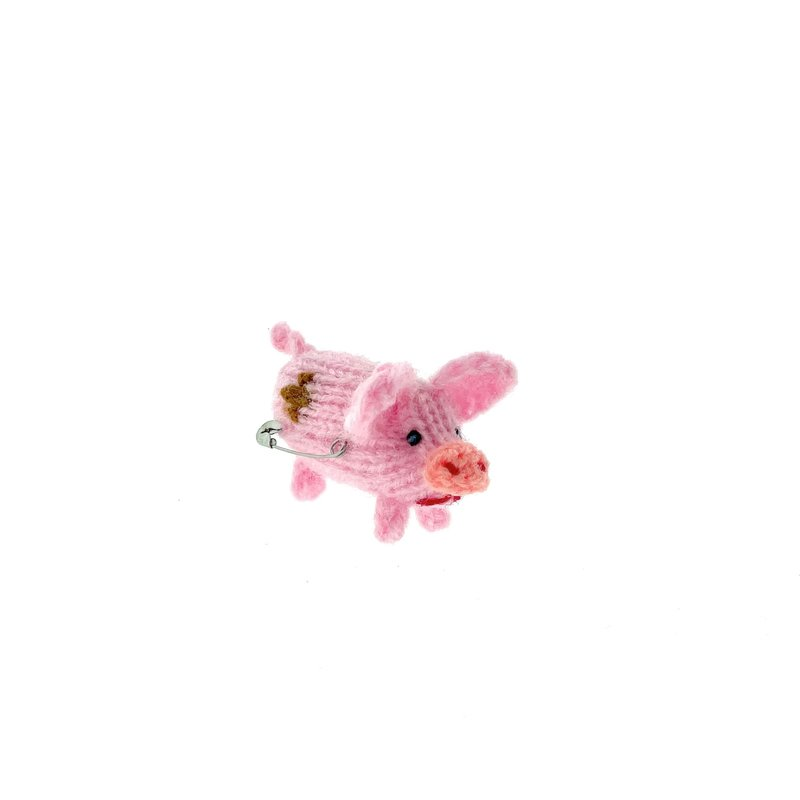 Brooch, knitted piglet, spotted rose