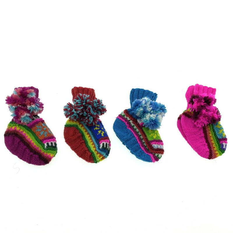Baby slippers acrylic, colourful