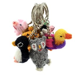 Key ring with hand knitted animal