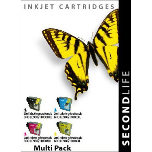 SecondLife Inkjets Multipack Brother 980/1100 BK, C, M en Y 29+20*3
