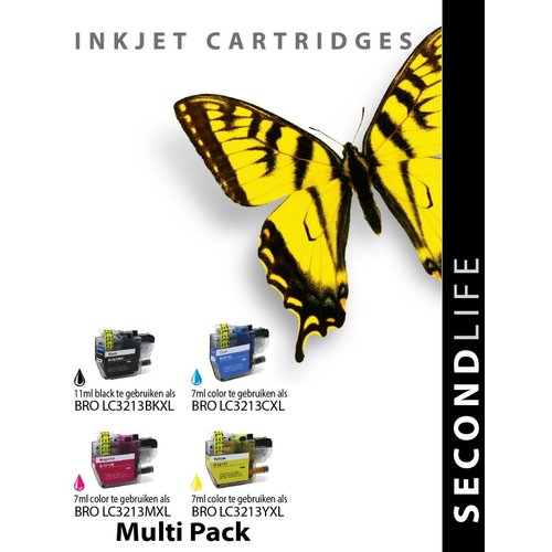 SecondLife Inkjets Multipack Brother LC 3213 XL BK, C, M en Y 11+7*3