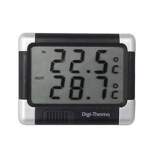 Carpoint Thermometer binnen/buiten zwart/zilver