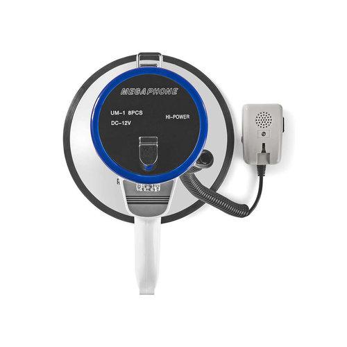 nedis Megafoon / 25 W / Bereik van 1500 m / Afneembare Microfoon / Wit/Blauw
