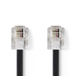 nedis Telecomkabel / RJ11 (6P4C) Female - RJ11 (6P4C) Female / Plat / 2,00 m / Zwart