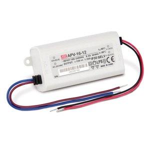 Mean Well 15W STANDAARD AC/DC (CV) LED-TRAFO 90-264VAC / 12VDC-1,25A