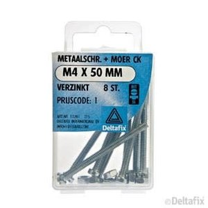 Deltafix METAALSCHR. CK + MOER M4 X 50 MM X  VERZINKT 8 ST.