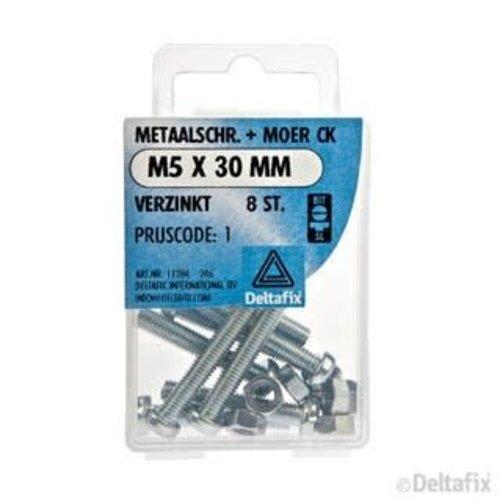 Deltafix METAALSCHR. CK + MOER M5 X 30 MM X  VERZINKT 8 ST.