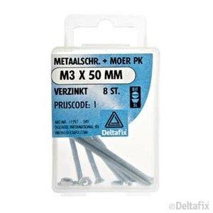 Deltafix METAALSCHR. PK + MOER M3 X 50 MM X  VERZINKT 8  ST.