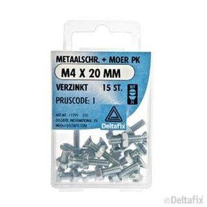 Deltafix METAALSCHR. PK + MOER M4 X 20 MM X  VERZINKT 15 ST.