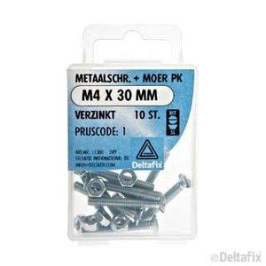 Deltafix METAALSCHR. PK + MOER M4 X 30 MM X  VERZINKT 10 ST.