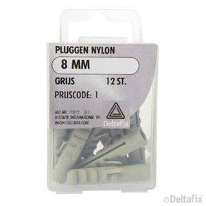 Deltafix PLUGGEN NYLON 8 MM X  X  GRIJS 12 ST.