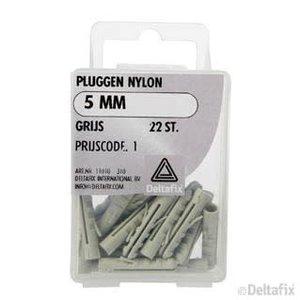 Deltafix PLUGGEN NYLON 5 MM X  X  GRIJS 22 ST.