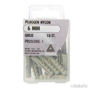 Deltafix PLUGGEN NYLON 6 MM X  X  GRIJS 18 ST.