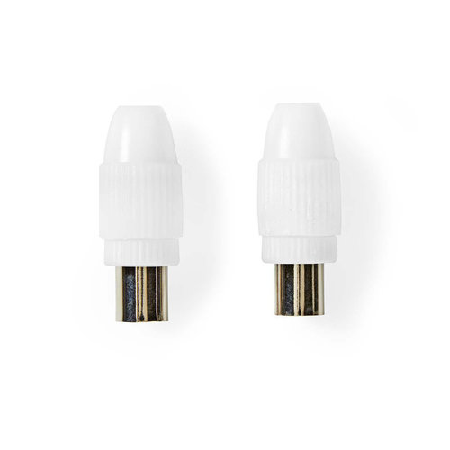 nedis IEC (Coax) -Connector / Male + Female - Recht / 2 Stuks / Wit