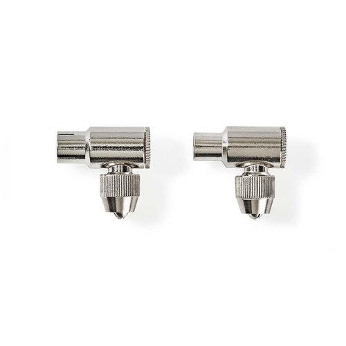 nedis IEC (Coax) -Connector / Male + Female - Gehoekt / 2 Stuks / Metaal
