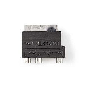 nedis Schakelbare SCART-Adapter / SCART Male - S-Video Female + 3x RCA Female / Zwart