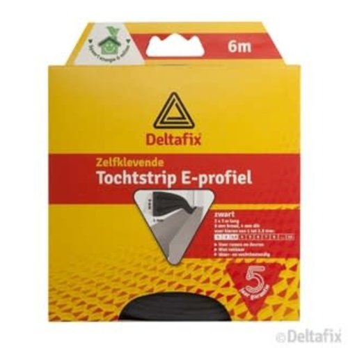 Deltafix TOCHTSTRIP E-PROFIEL EPDM  6 M X 9 MM X 4 MM ZWART
