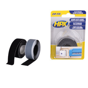 HPX Klittenband Zelfklevende Klittenband Haak + Lus Zwart