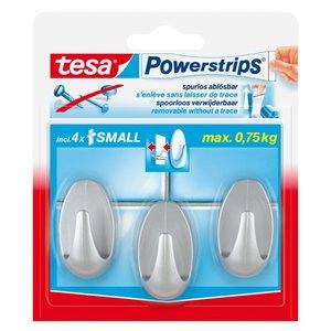 Tesa Tesa powerstrips haakje small ovaal mat-chroom 3 stuks