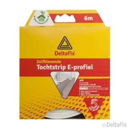 Deltafix TOCHTSTRIP E-PROFIEL EPDM  6 M X 9 MM X 4 MM WIT
