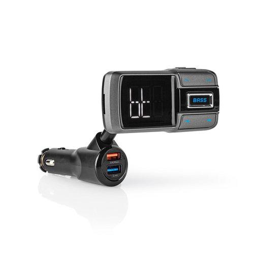 nedis FM-Transmitter voor in de Auto | Bluetooth® | Bass Boost | microSD-Kaartsleuf | Handsfree Bellen | Spraakbediening | 3,0 A / 2,4 A