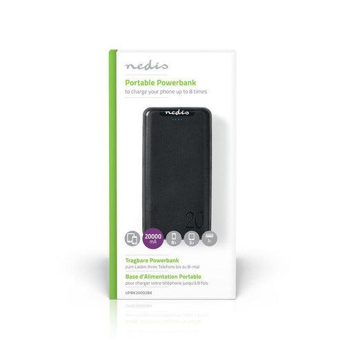 nedis Powerbank   20. 000 mAh   3 Uitgangen 3.0 / 2.1 / 1.0 A   USB-C™ / Micro-USB-Ingang