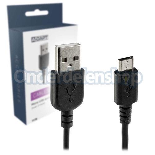 A-DAPT Data en laadkabel Micro USB m zwart 2 meter