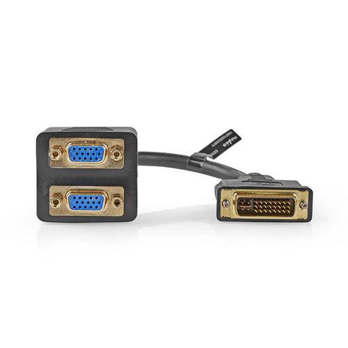 nedis Adapterkabel DVI / DVI-I 24+5-Pins Male - 2x VGA Female / 0,2 m / Zwart