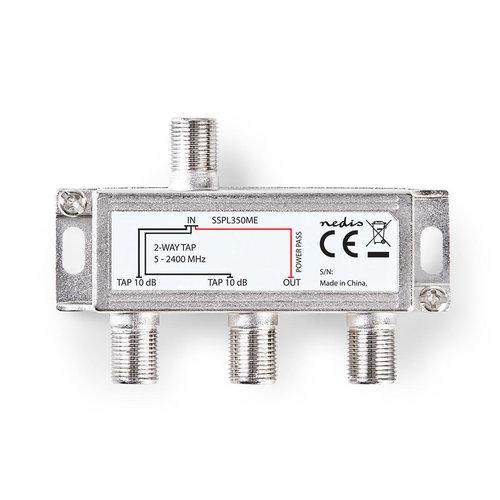 nedis Satelliet Tap F-Splitter / Max. 10 dB Versterking / 5 - 2400 MHz / 2 Uitgangen
