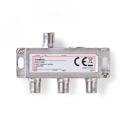 nedis Satelliet F-splitter / Max 10,5 dB versterking / 5 - 2400 MHz / 3 uitgangen