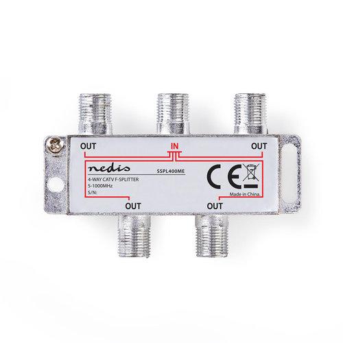 nedis CATV F-Splitter / Max 8,0 dB versterking / 5 - 1000 MHz / 4 uitgangen