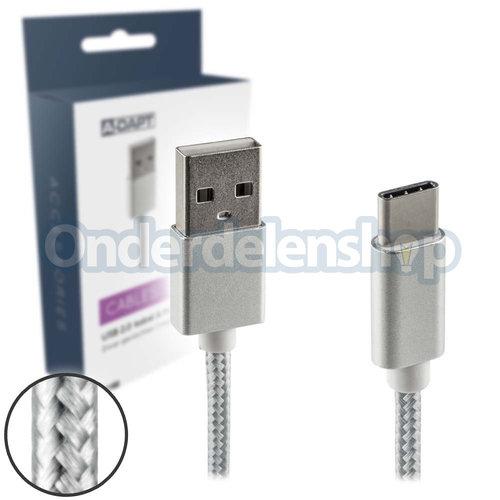 A-DAPT Data en laadkabel USB-C m zilver