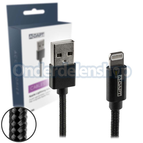 A-DAPT Data en laadkabel Apple Lightning MFI Nylon 1m zwart