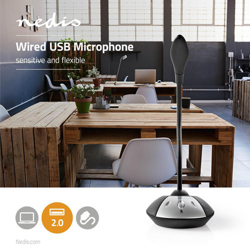 nedis Bedrade Microfoon / USB / Zwart/Grijs