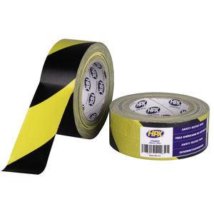 HPX Veiligheids textiel tape geel / zwart 48mm X 25m afzet tape