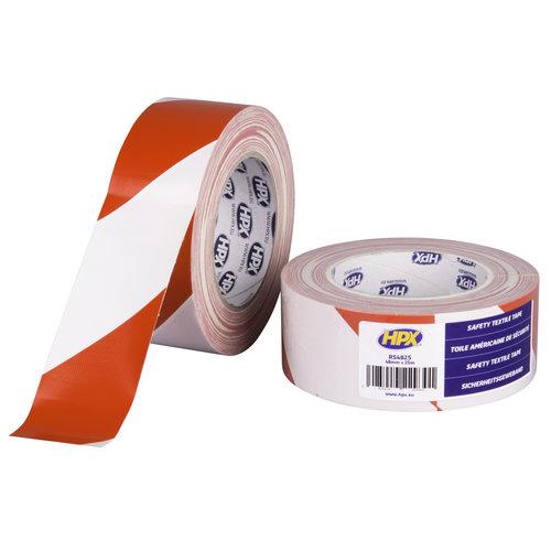 HPX Veiligheids textiel tape afzet - wit / rood 48mm X 25m afzet tape