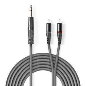 nedis Stereo audiokabel / 6,35 mm male - 2x RCA male / 3,0 m / Grijs