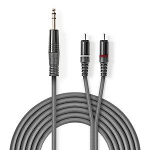 nedis Stereo audiokabel / 6,35 mm male - 2x RCA male / 1,5 m / Grijs
