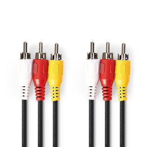 nedis Composiet Videokabel / 3x RCA Male - 3x RCA Male / 1,5 m / Zwart