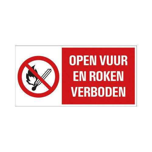 Pickup Bord 15x30cm Combinatie Open vuur en roken verboden