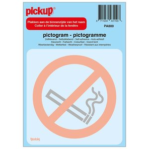 Pickup Pictogram achter glas 10x10cm Verboden te roken