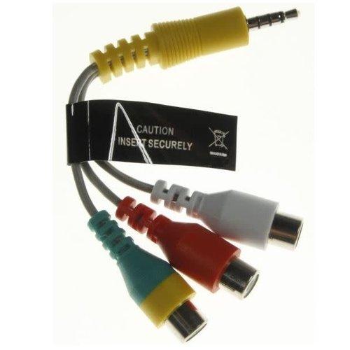 Samsung Adapter AV Adapterkabel Jack 3.5mm 4 pins naar 3x RCA