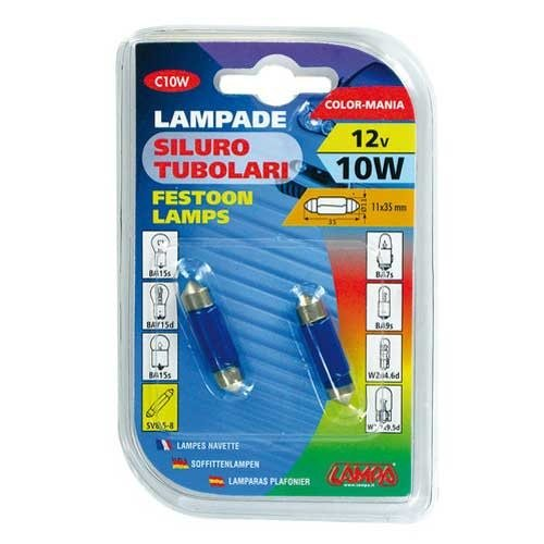 Lampa 11x35mm buislamp 12V 10W blauw