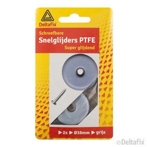 Deltafix snelglijders PTFE + schroef  38 mm grijs  2 stuks