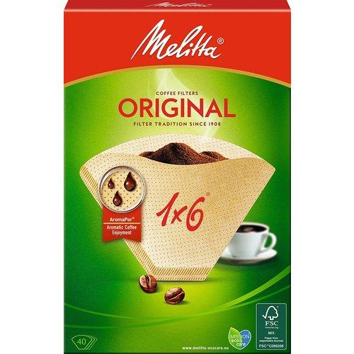 Melitta Filter Koffiefilter bruin 1X6, 40 stuks
