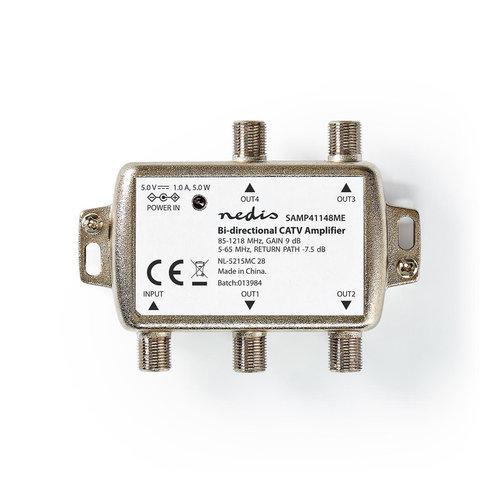 nedis CATV Versterker Max. 12 dB Versterking | 85 - 1218 MHz | 4 Uitgangen | Retourkanaal -7,5 dB | 5 - 65 MHz | F